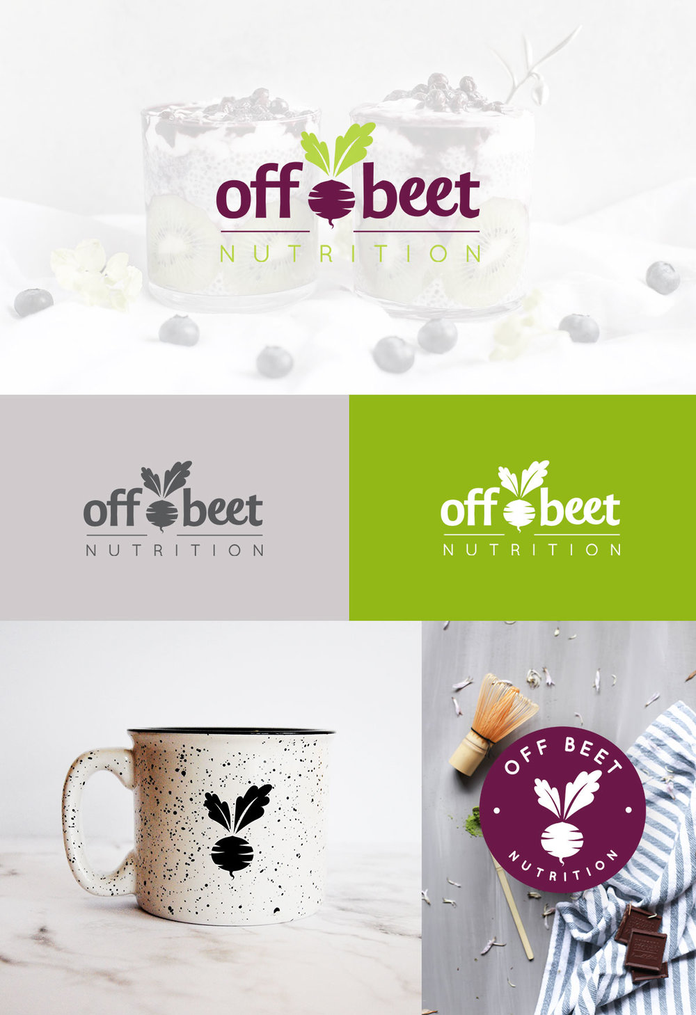 Off Beet Nutrition Logo Design Featuring Beet, Green, Purple, Fresh Color | Logo Design Process | Six Leaf Design | Freelance Graphic Designer | Denver, Colorado