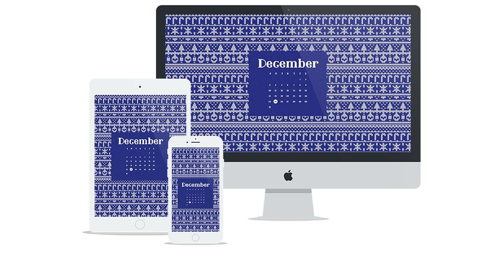 Free Wallpaper for December 2017 featuring an ugly sweater pattern and calendar | Six Leaf Design | Freelance Graphic Designer | Denver, Colorado
