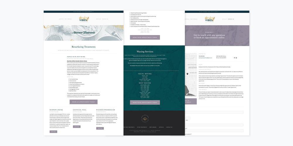 Healing Vibes Esthetics Logo + Branding + Website Design | Six Leaf Design | Freelance Graphic + Logo + Brand + Web Designer | Denver, Colorado