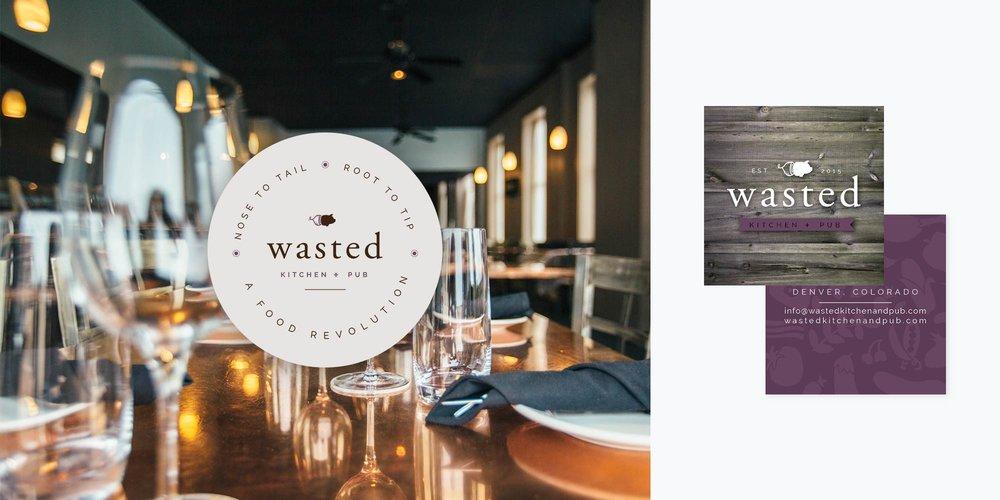 Wasted Kitchen + Pub Logo & Brand Design | Submark + Business Card Design