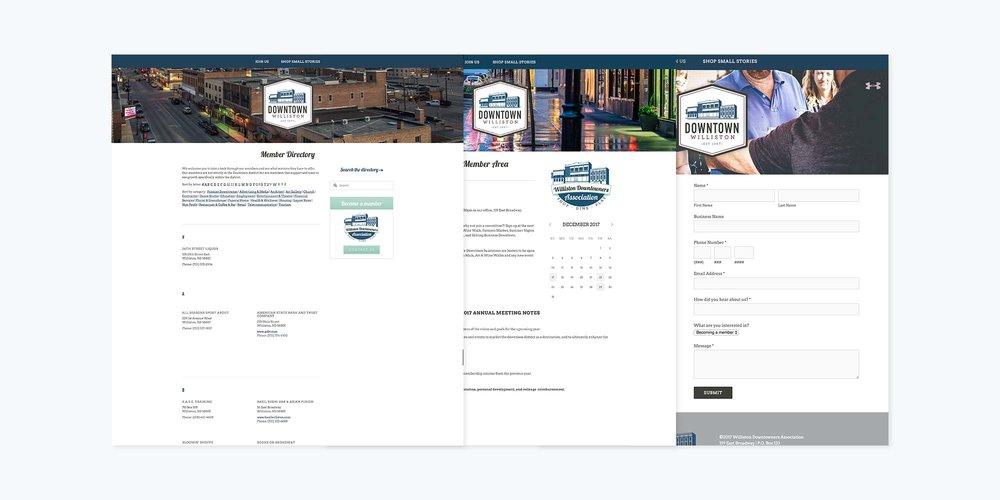 Downtown Williston Logo + Brand + Website Design