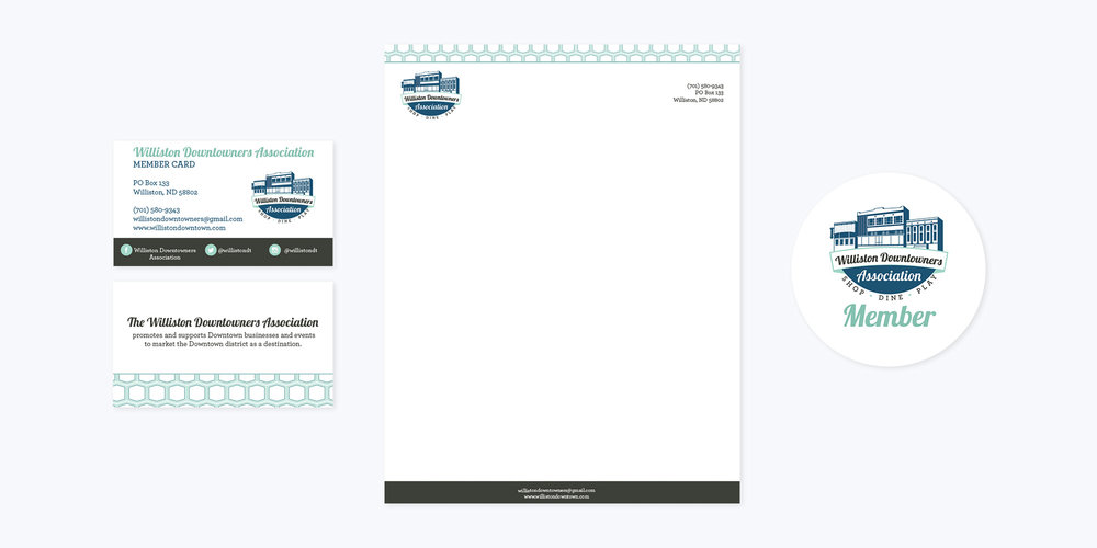 Downtown Williston Logo + Brand Design | Business Cards, Letterhead, Member Sticker Design
