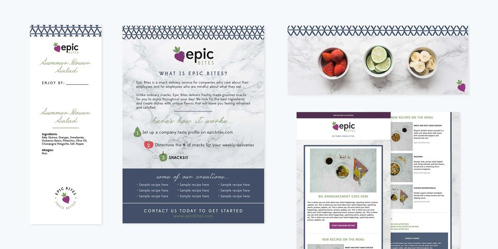Epic Bites Logo + Brand Design | Label, Flyer and Email Template Design