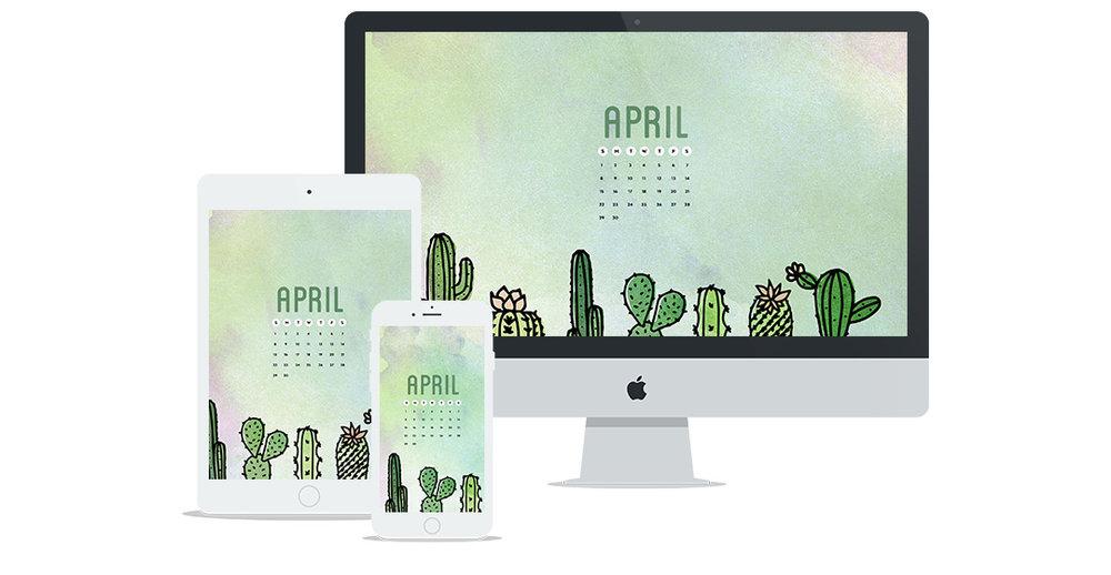Free Wallpaper Design for April 2018 Featuring Cactus Illustrations
