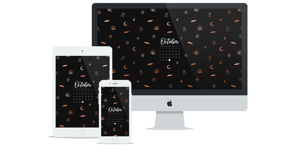 Free Wallpaper for October 2018 featuring Halloween themed doodles in black and rose gold with calendar