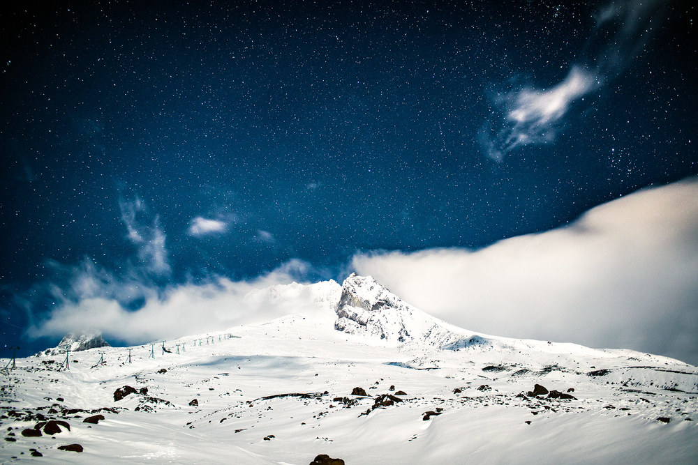 Looking up towards the summit of Mt Hood as the clouds begin to break up