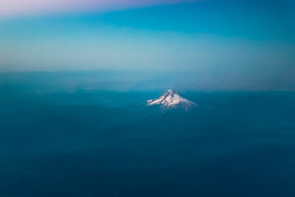Aerial shot of Mt Hood, oregon at sunset
