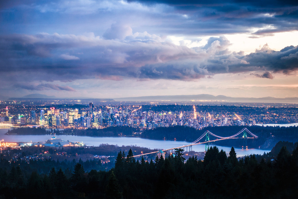 Stormy sunset over Vancouver, BC