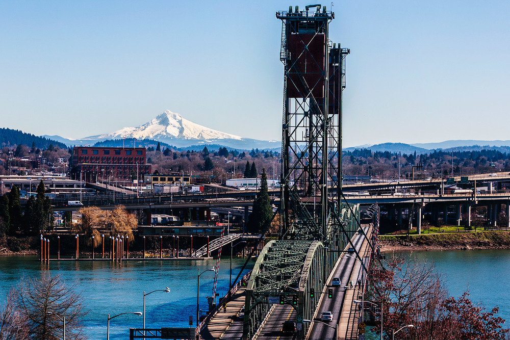 Clear day in Portland, Oregon. View of the Hawthorne Bridge and Mt Hood.