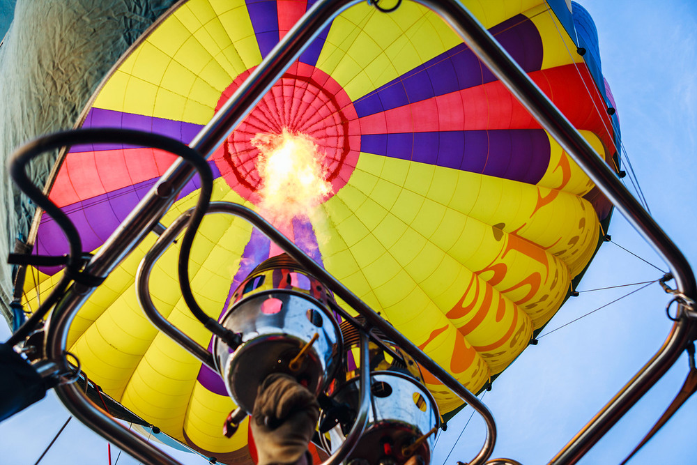 Heating up the hot air balloon