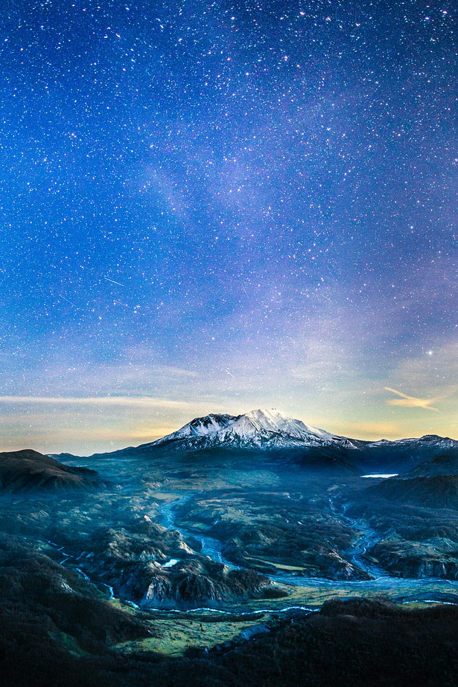 Mt St Helens, Washington under the stars