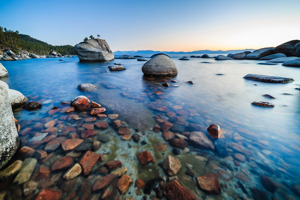 Crystal clear waters at Bonsai Rock, Lake Tahoe, Nevada