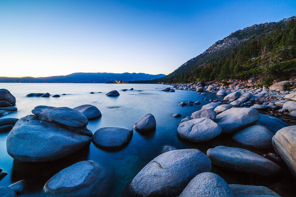 Large granite boulders line the beach on the east side of Lake Tahoe at Bonsai Rock, Nevada