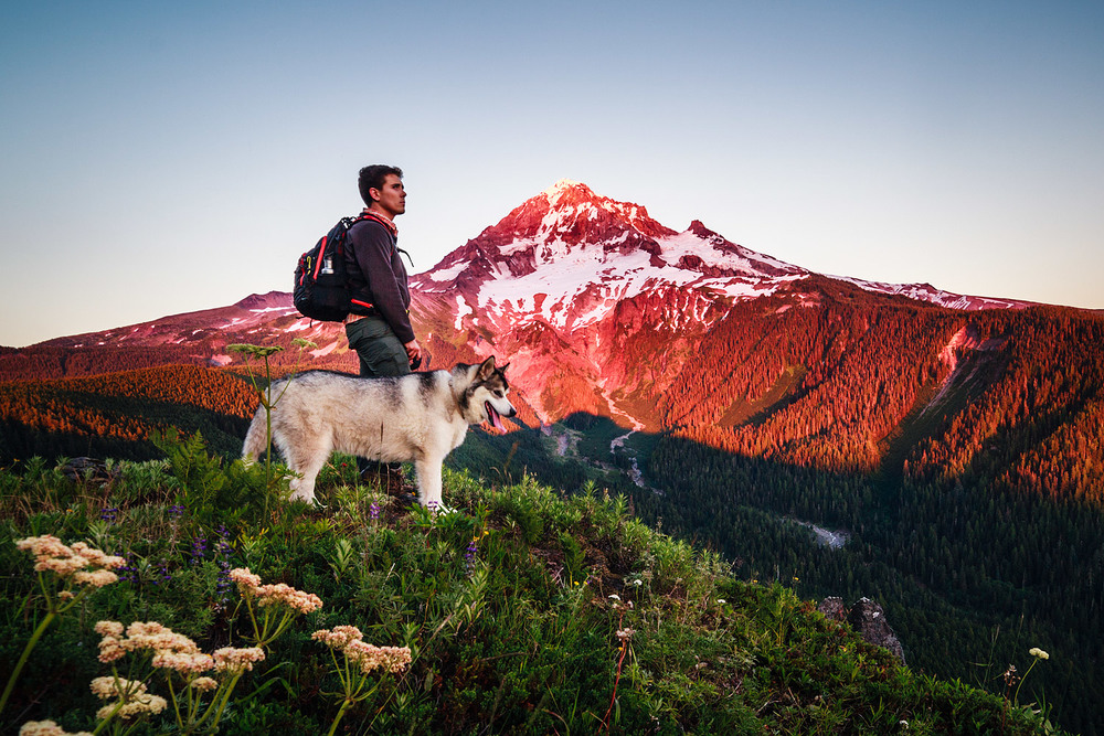 Duke and I enjoying the sunset at Bald Mountain with Mt Hood, Oregon in the background