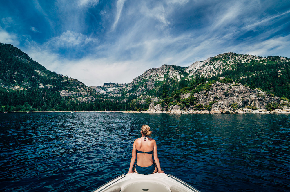 Boating to Emerald Bay, Lake Tahoe