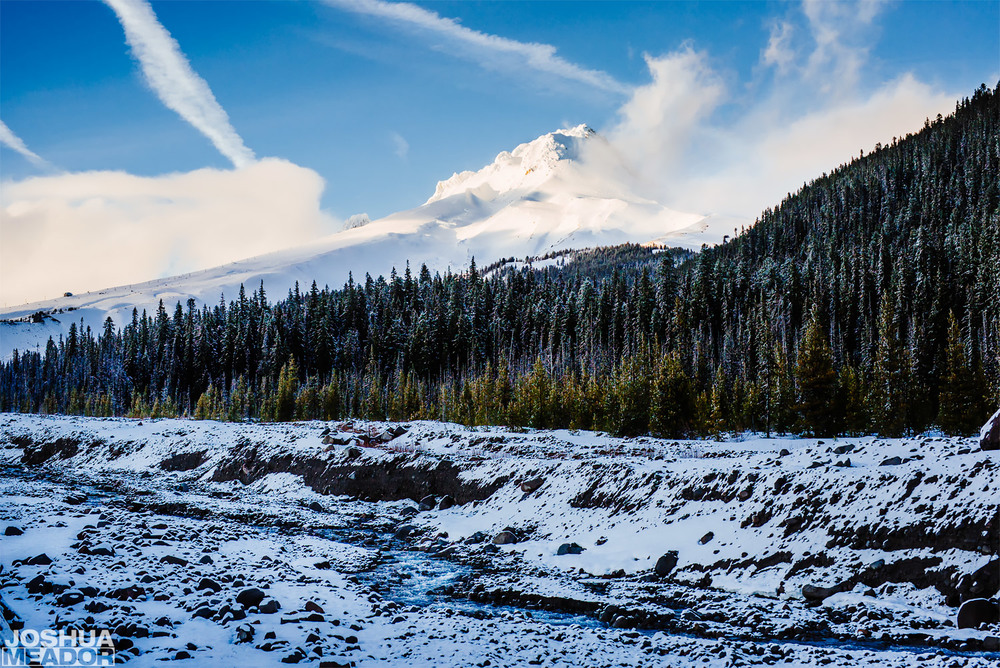 White River Mt Hood, Oregon with a light dusting of snow