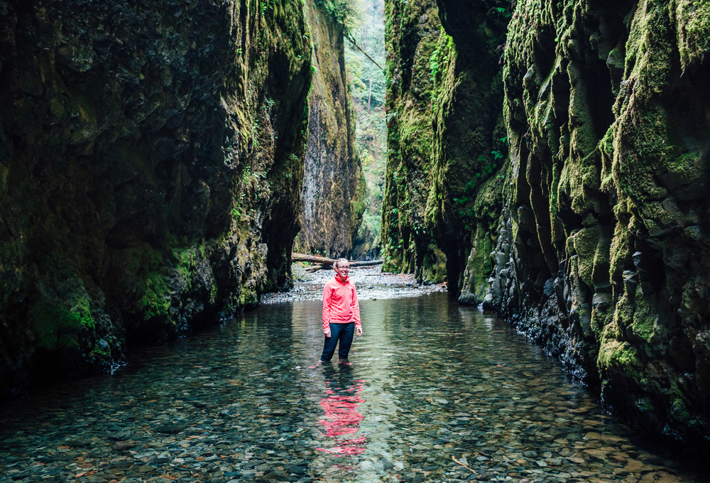 Clear water on the hike out Oneonta Gorge.