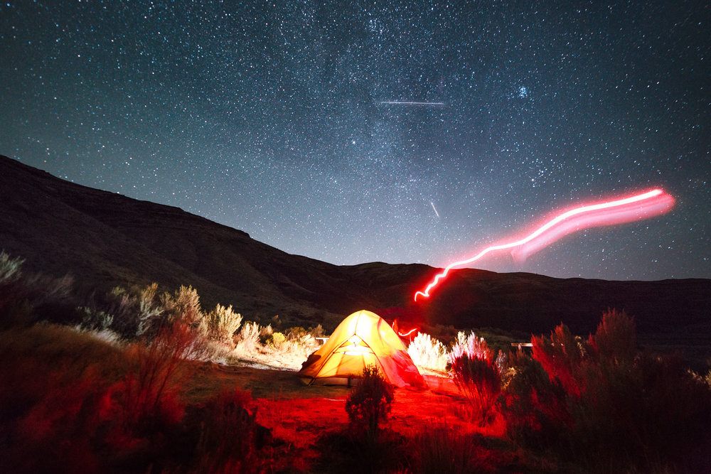 Camping under the stars at Cottonwood Canyon State Park, OR during the Perseid Meteor shower