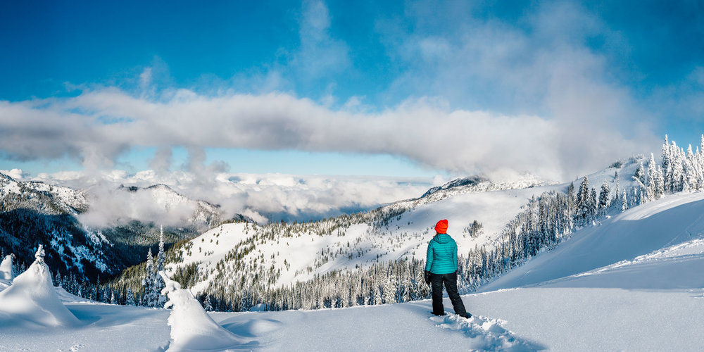 Deep powder and enjoying the view out towards the North from Hurricane Ridge, Washington