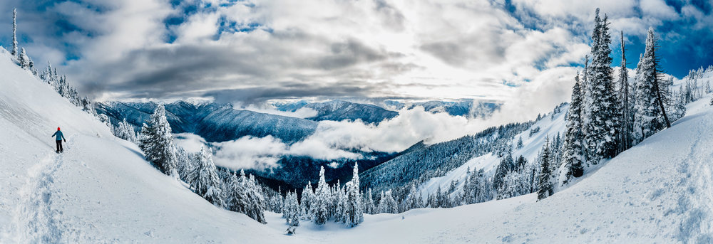 Panoramic of the beautiful view from along the trail we hiked near Hurricane Ridge, WA