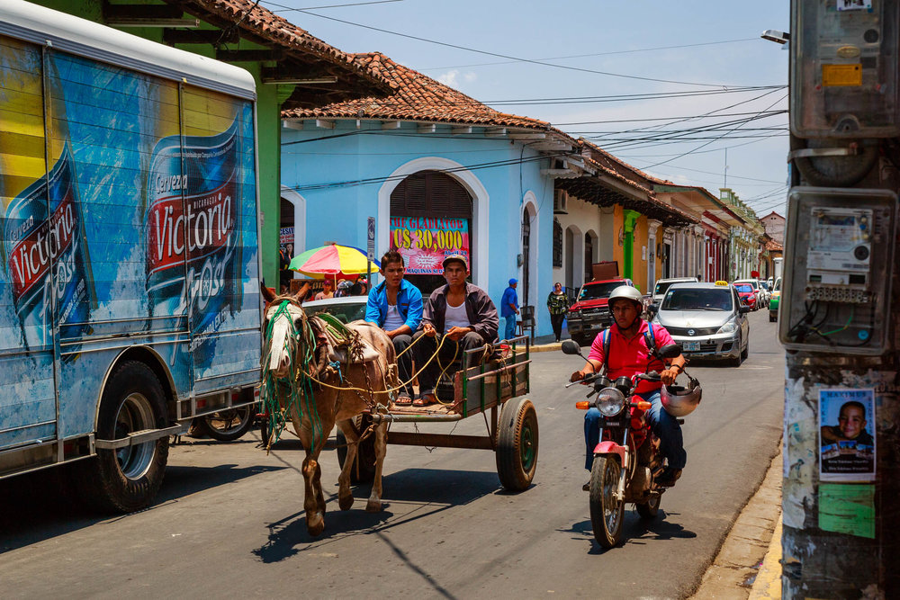 Many different forms of transportation are used on the streets of Nicaragua.