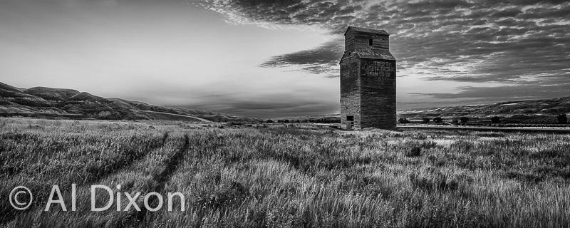 Abandoned grain elevator dominates the skyline over Dorothy, AB.