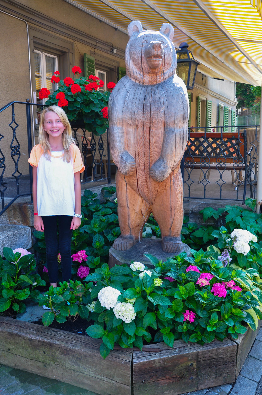 My girl and the Hotel Baeren Bear!