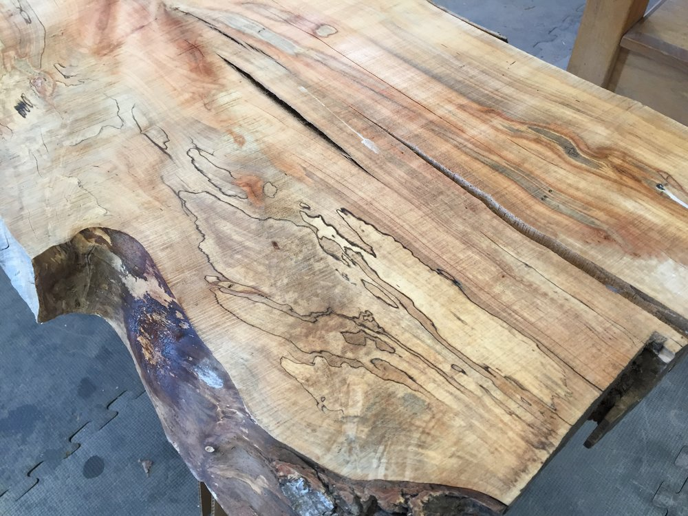 "Bugs, spalting, cracks, and splits....  A word on Ghost Maple:  Most people call this Ambrosia Maple (yuck), after the Ambrosia Beetle that makes those ""ghost-like"" markings.  Some people go for Wormy Maple (no).  Ghost Maple sounds best, so that's what we go with."