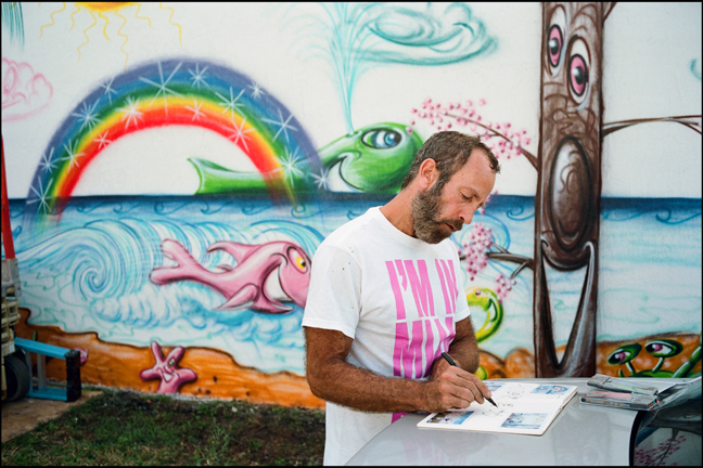 Kenny in Wynwood working on the AK FOTO Journals.