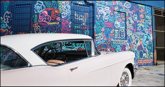 CHANOIR'S collab with Xupet Negre and a vintage Cadillac in Wynwood.
