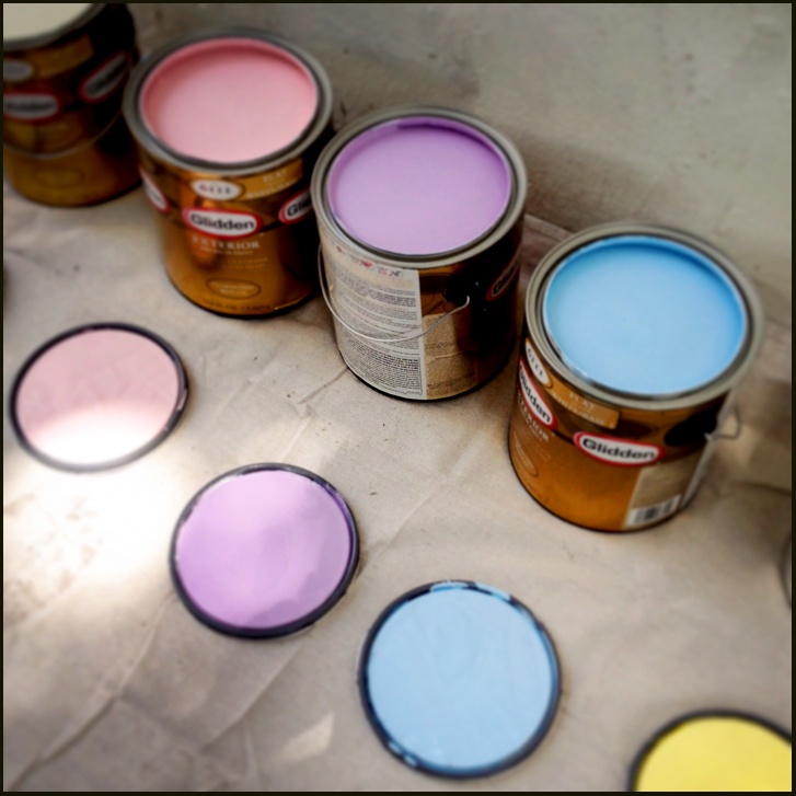 The paint palette for mural.