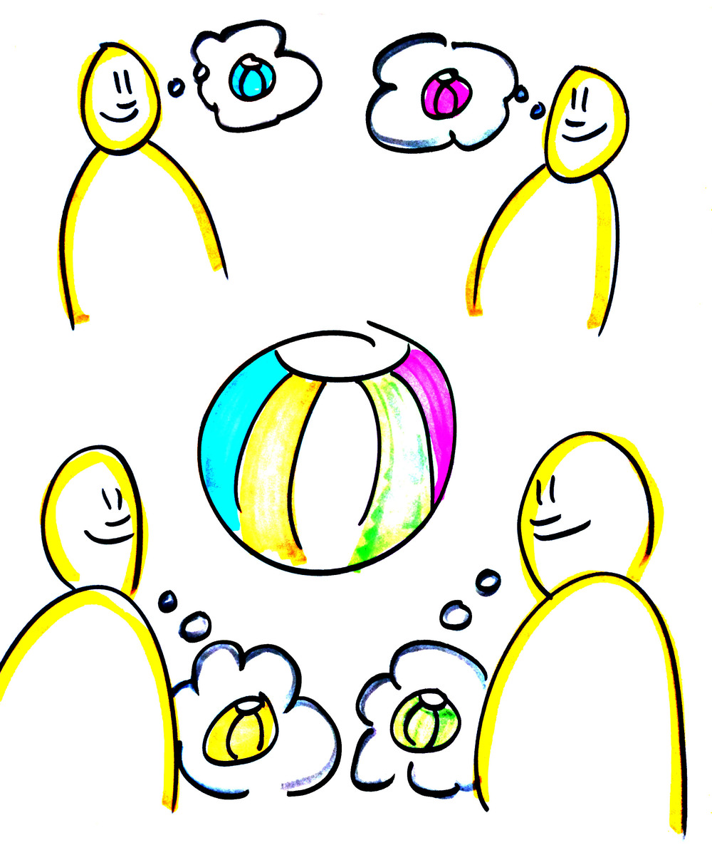 "One's ""reality"" is simply their unique perspective. Any situation is like a beachball: based on where I'm standing, the beachball may appear yellow to me. Another person might look at the same beachball and see it as red. My senses and my experience tell me that beachball is yellow, but this other person is saying it's red, therefore I'm right and he's wrong. Instead, allow for the possibility that we may BOTH be right: open yourself up to the context of the bigger picture."