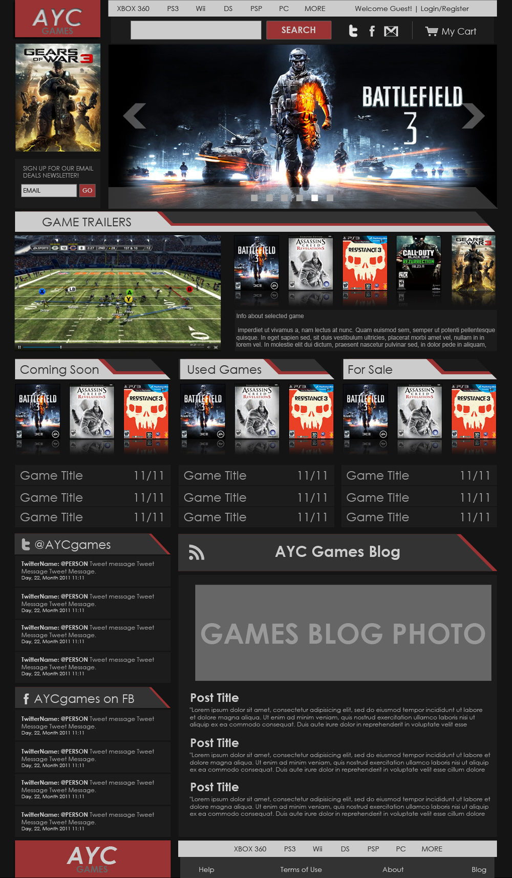 AYC GAMES DARK THEME