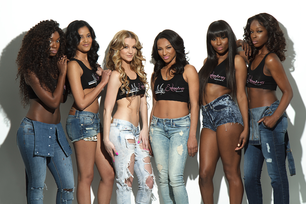 All of the models wearing the black MyExtensions tank with damaged jeans