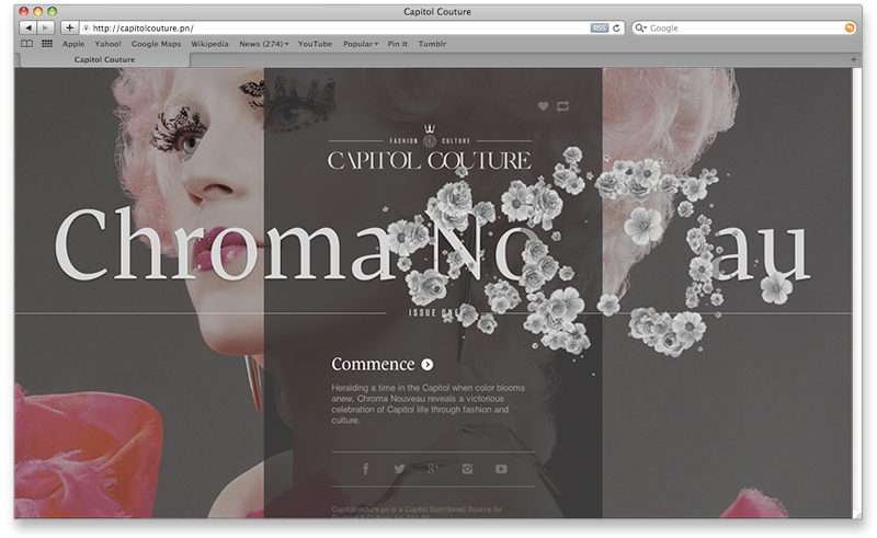 Capitol Couture landing page {screenshot shows mouse-over effect of issue name}