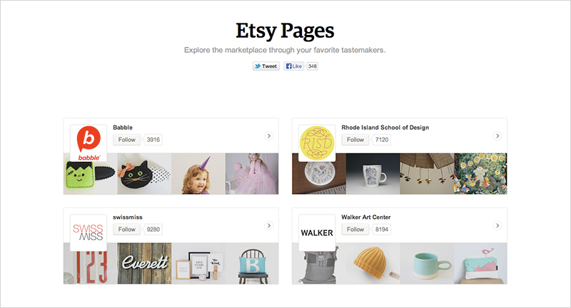 Screenshot of  Etsy Pages