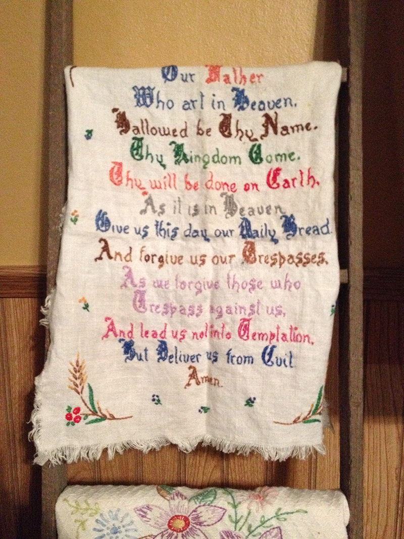 Embroidered Fraktur; made by my aunt when she was little!
