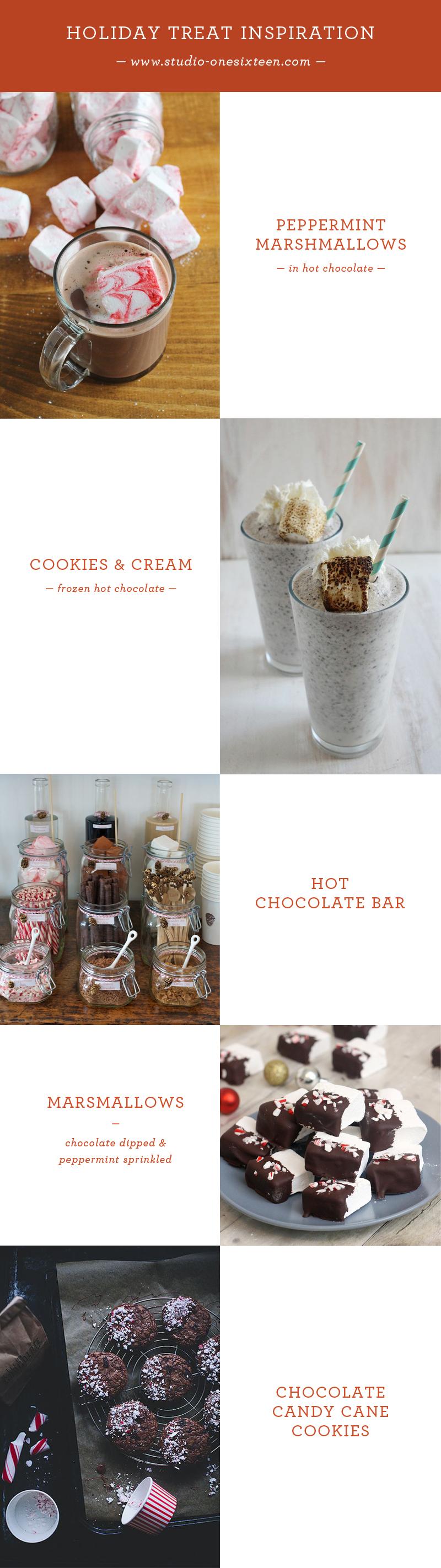Peppermint Marshmallows / Cookies & Cream Frozen Hot Chocolate / Hot Chocolate Bar / Chocolate Dipped Peppermint Sprinkled Marshmallows / Chocolate Candy Cane Cookies