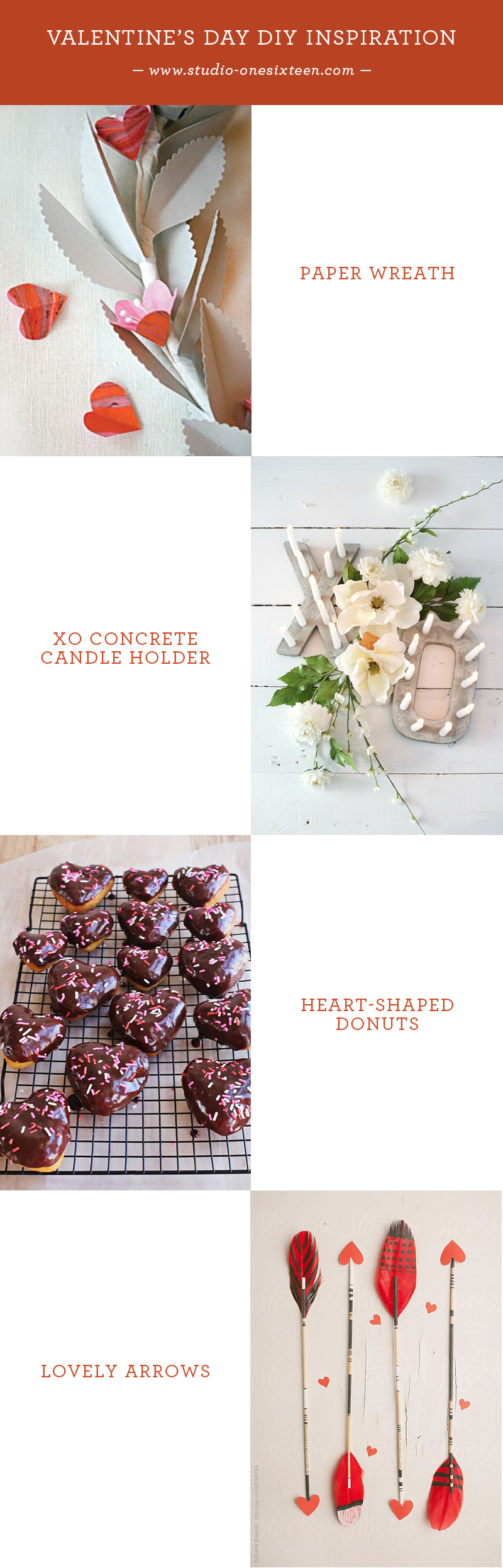 Paper Wreath  /  XO Concrete Candle Holder  /  Heart-Shaped Donuts  /  Lovely Arrows
