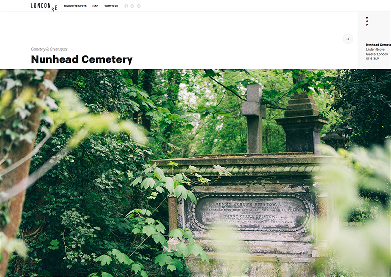 This subpage screenshot depicts the gorgeous full-width photographs associated with each London spot's details page. London SE Subpage | Nunhead Cemetery
