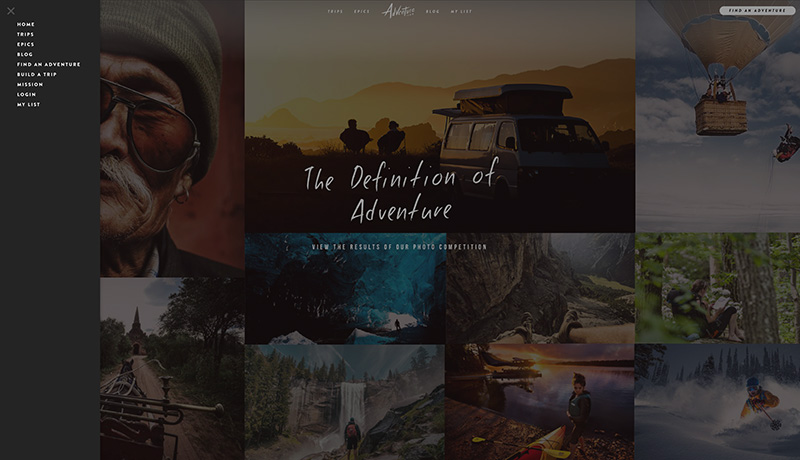 Adventure.com | Slide-Out Navigation