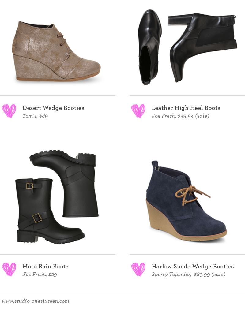Desert Wedge Booties by Tom's / Leather High Heel Boots by Joe Fresh / Moto Rain Boots by Joe Fresh / Harlow Suede Wedge Booties by Sperry Topsider