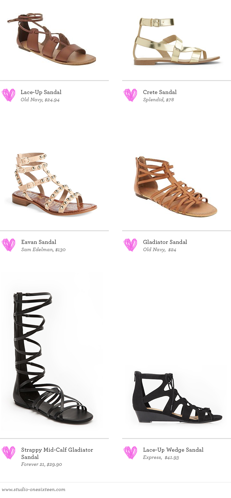 Lace-Up Sandal by Old Navy  /  Crete Sandal by Splendid  /  Eavan Sandal by Sam Edelman  /  Gladiator Sandal by Old Navy  /  Strappy Mid-Calf Gladiator Sandal by Forever 21  /  Lace-Up Wedge Sandal by Express