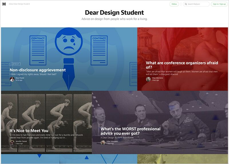 Dear Design Student homepage