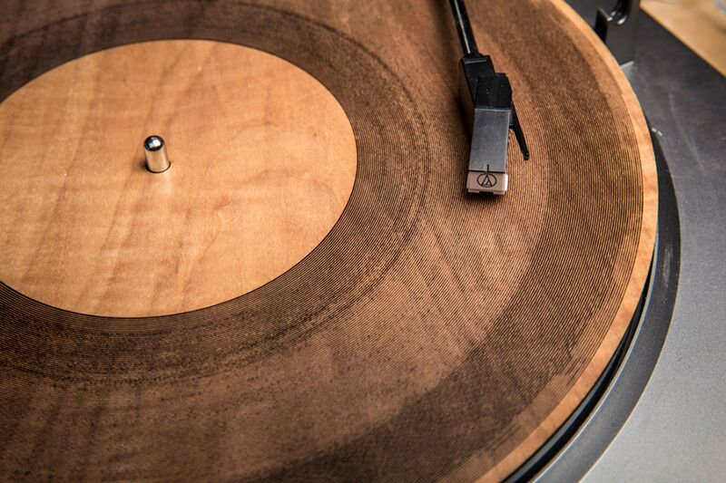 laser cut wood record by Amanda Ghassaei