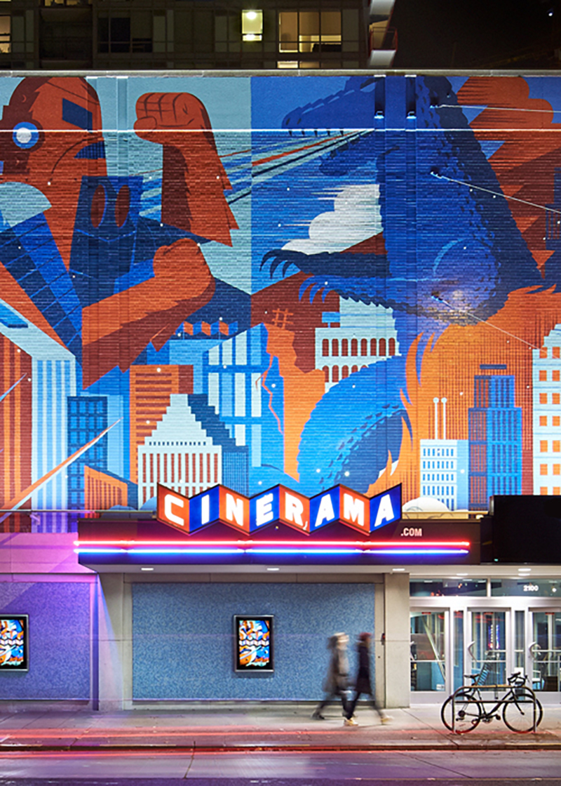 Cinerama Mural  designed by  Invisible Creature , Photograph by  Benjamin Benschneider