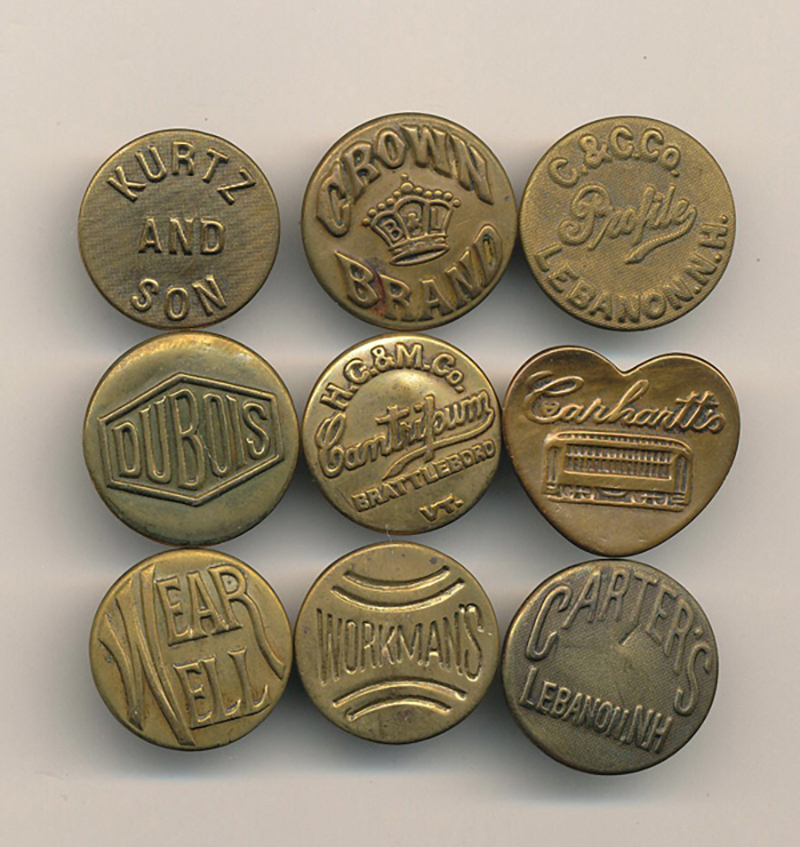 Vintage Brass Workwear Buttons
