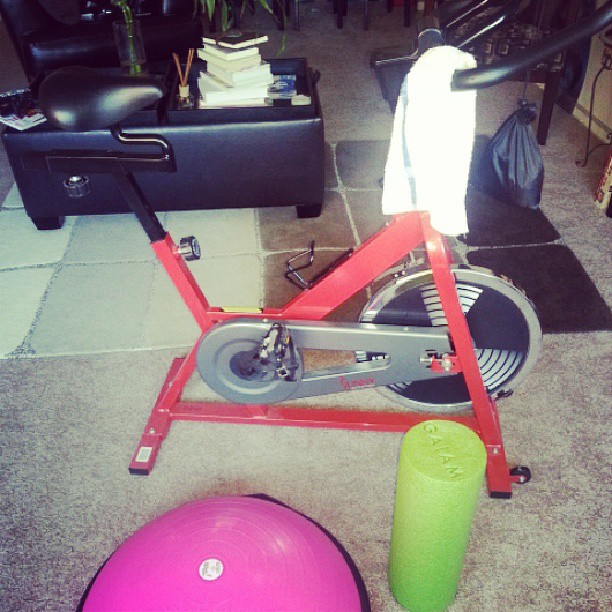My little home gym. #workout #homeworkout #fitspo #fitandhealthy #fitspiration #sweat #fitchick #fitness #cycle #BOSU #foamroller