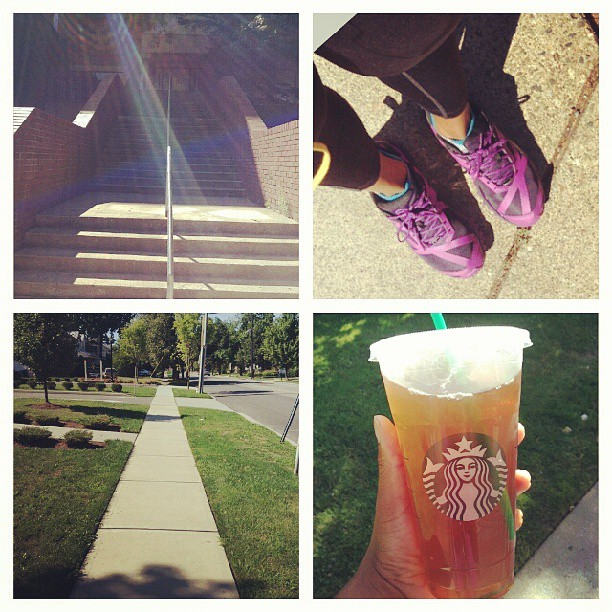 Sunday morning walk with stairs! I stopped @starbucks at the end of my walk for an unsweetened green ice tea:) #puma #walk #fit #weekend #freshair #summer
