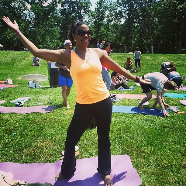 Yoga on the Green today taught by @brendablancoyoga. #fitandhealthy #fitness #instagood #yoga #summer